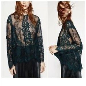 Zara green and black floral lace size med